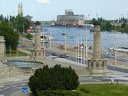 Blick auf den Hafen von Stettin
